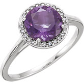 Gemstone & Diamond Halo-Styled Ring
