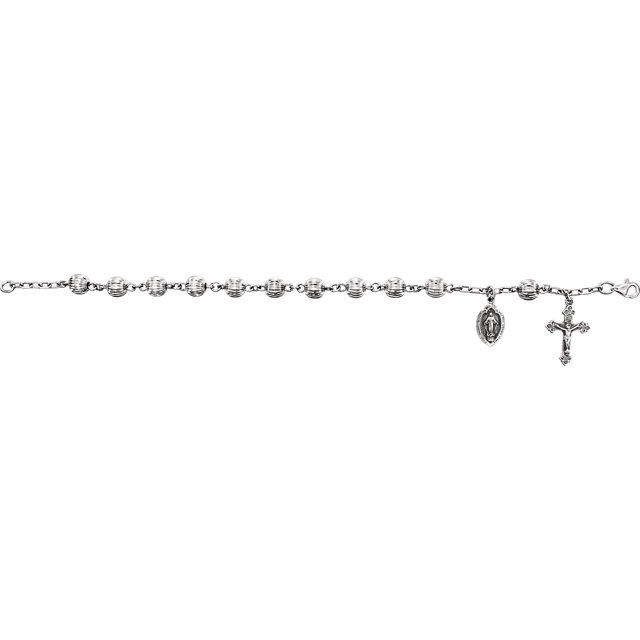 Silver Bead Rosary Bracelet