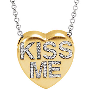 ".02 CTW Diamond ""Kiss Me"" Heart Necklace"