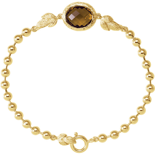 14K Yellow Gold-Plated Sterling Silver Honey Quartz 7.5