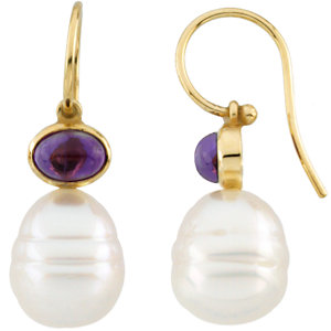 14kt White 7x5mm Amethyst<br> Semi-Mount Earrings for<br> Pearls