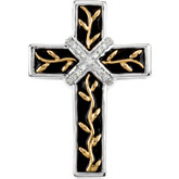 Black Enamel Diamond Cross