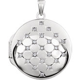 Round Locket with Cubic Zirconia Accents