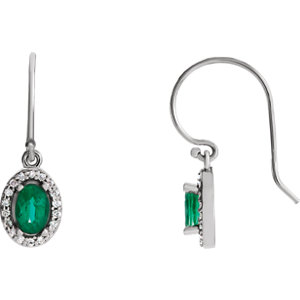 Gemstone & Diamond Halo-Styled Earrings