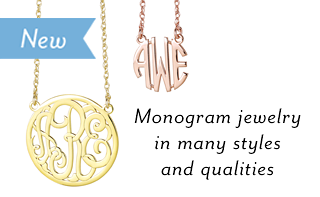 Monogram jewelry in many styles and qualities