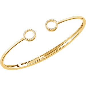 "14K Yellow 1/6 CTW Diamond Circle Hinged Cuff 7"" Bracelet"