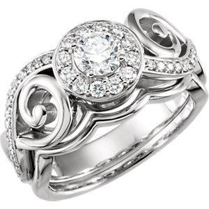 14kt White 9/1  ATW<br> Diamond Semi-Mount<br> Engagement Ring