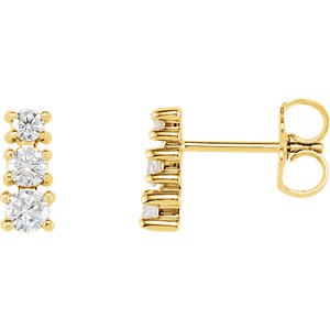 14kt Yellow 1/4 ATW Diamond A Stone Earrings