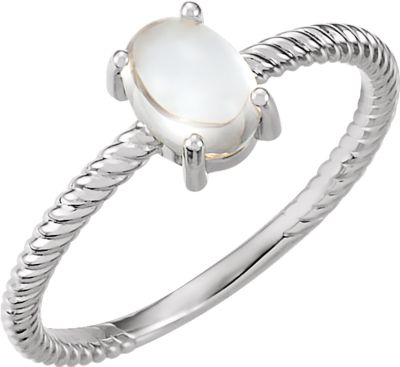14kt White Moonstone Cabochon Ring