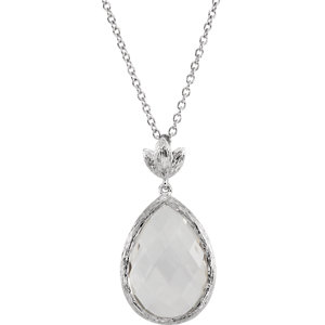 Be Posh® Checkerboard Clear Quartz Leaf Necklace