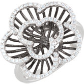 1/3 ct tw Diamond Flower Ring with Black Rhodium Plating