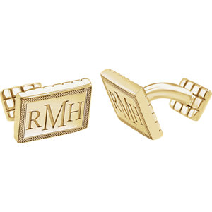 13x18mm 3 Letter Serif Monogram Cuff Links Ref 651573