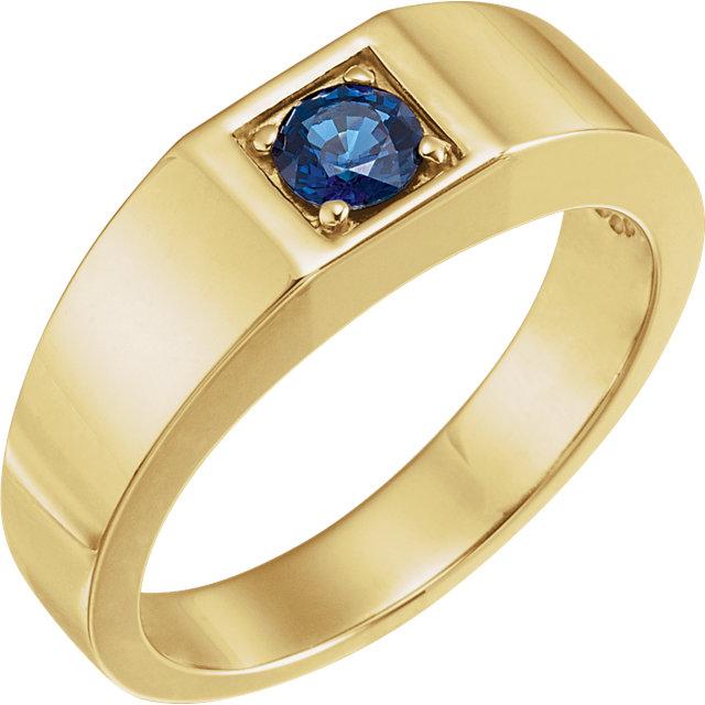 14K Yellow Sapphire Men-s Ring