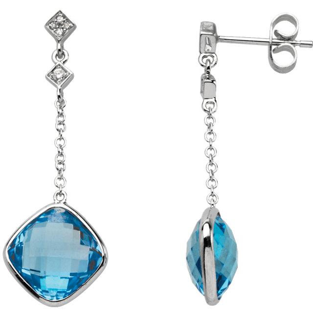 14kt White Swiss Blue Topaz & .05 CTW Diamond Earrings