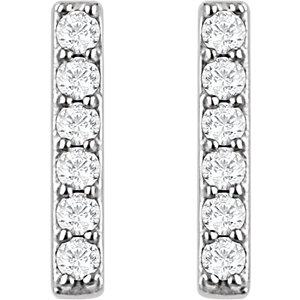14kt White 1/10 CTW Diamond Vertical Bar Earrings