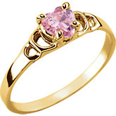 Youth Pink CZ Heart Ring
