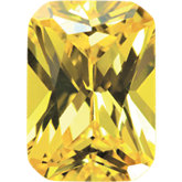 Emerald/Octagon Lab Created Yellow Cubic Zirconia