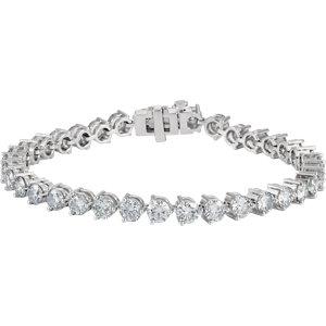 "18K White 12 CTW Diamond Line 7.25"" Bracelet"