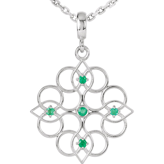Sterling Silver Emerald 18