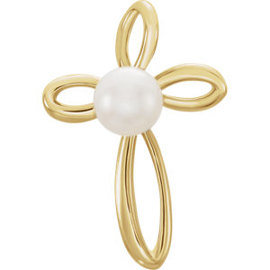 Sterling Silver<br> Freshwater Aultured Pearl<br> Aross Pendant