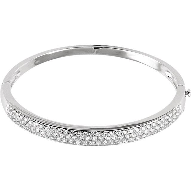 14K White 3 CTW Diamond Pave- Bracelet