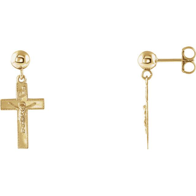 14K Yellow 14x9mm Crucifix Ball Dangle Earrings