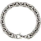 Stainless Steel Diamond Cut Oval Rolo Bracelet or Chain