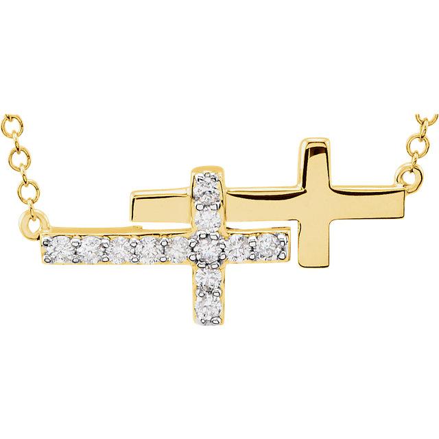 14K Yellow 1/6 CTW Diamond Double Sideways Cross 18