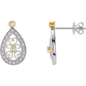 14kt Two-Tone 1/4 ATW<br> Diamond Filigree Earrings