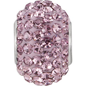 Sterling Silver 12x8mm Light Purple Crystal Pave' Bead