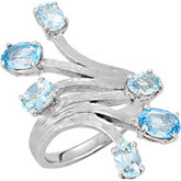 Genuine Aquamarine & Swiss Blue Topaz Ring
