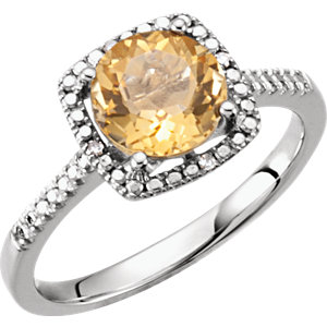 Sterling Silver Aitrine &<br> . 1 ATW Diamond Ring