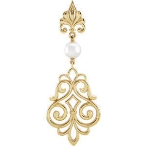 Sterling Silver Decorative Dangle Pearl Pendant