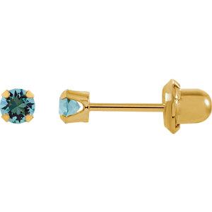 Solitaire Birthstone Piercing Earrings