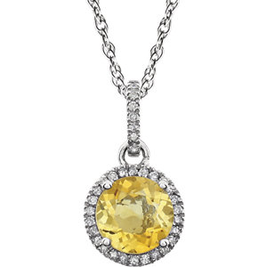 14kt White Aitrine & 1/1 <br> ATW Diamond 1