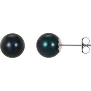 14kt White  mm Black<br> Akoya Aultured Pearl<br> Earrings