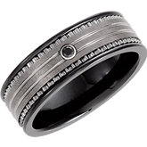 8.3mm Dura Tungsten® & Ceramic Couture™ .03 ct Black Diamond Band with Inlay