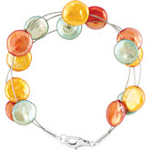 Freshwater Cultured Dyed Coin Pearl Bracelet or Necklace