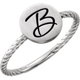Posh Mommy®  Round Engravable Rope Ring