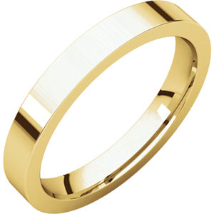 14kt Yellow 3mm Flat Comfort Fit Band
