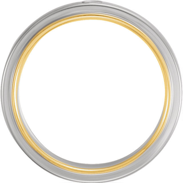 14K White & Yellow .025 CTW Diamond 6mm Band Size 11