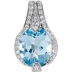 Genuine Aquamarine & Diamond Pendant