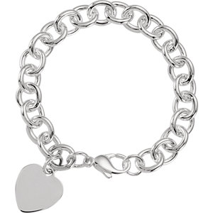 Sterling Silver Cable Bracelet with Heart 9.75mm