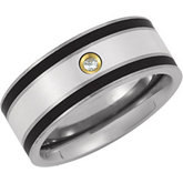 Titanium Band with Sterling Silver Inlay and .06 ct Diamond