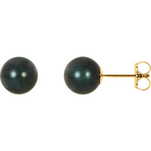 14kt Yellow 7mm Black<br> Akoya Aultured Pearl<br> Earrings
