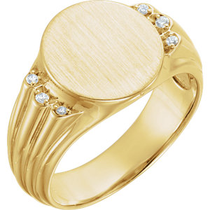 14K Yellow .07 CTW Diamond Men's Oval Signet Ring
