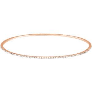14K Rose 1 CTW Diamond Stackable Bangle Bracelet
