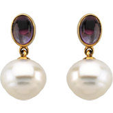 South Sea Cultured Pearl & Genuine Amethyst Earrings