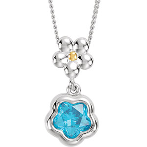 "Sterling Silver BLUE Cubic Zirconia BFlower™ 15-17"" Necklace with Box"