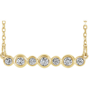 14K Yellow 1/5 CTW Diamond Bezel Set Bar Necklace